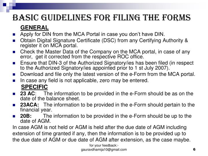 BASIC GUIDELINES FOR FILING THE FORMS