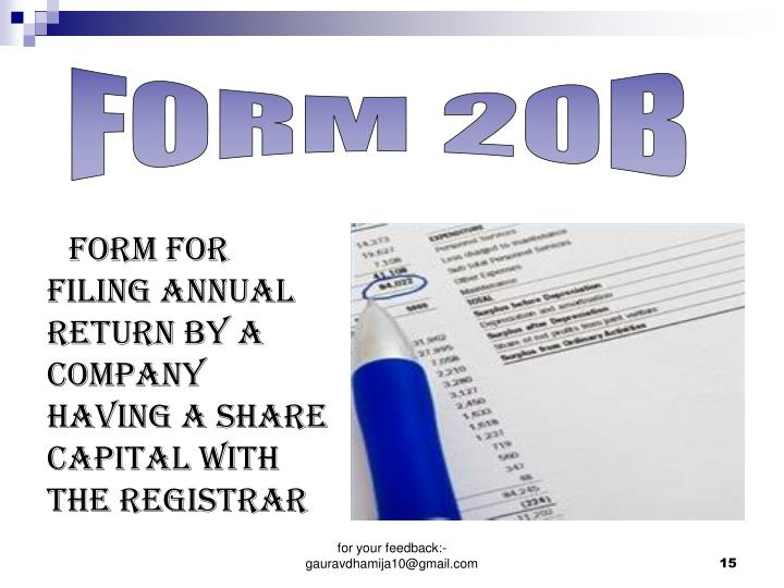 Form for filing annual return by a  company having a share capital with the Registrar