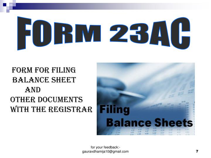 Form for filing