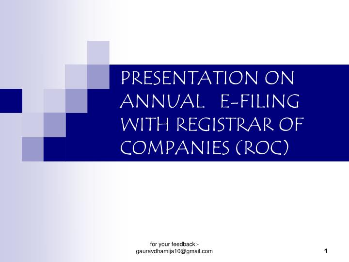Presentation on annual e filing with registrar of companies roc