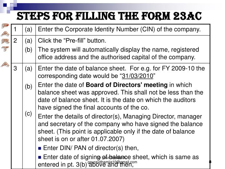 STEPS FOR FILLING THE FORM 23AC