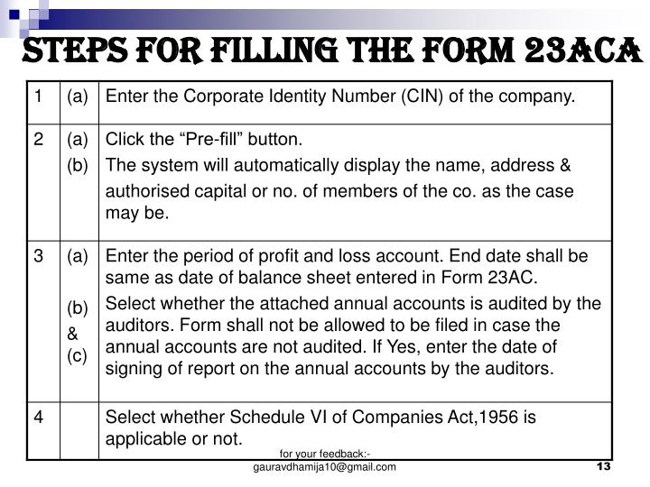 STEPS FOR FILLING THE FORM 23ACa