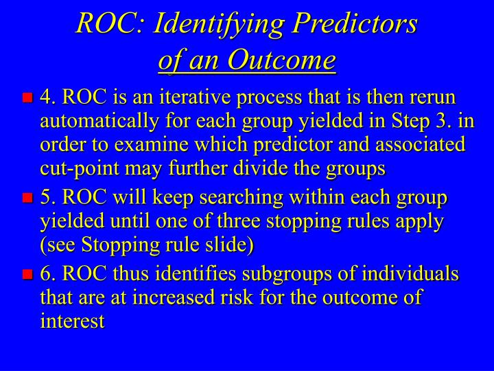 ROC: Identifying Predictors