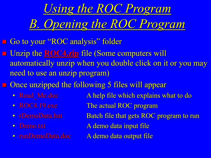 Using the ROC Program
