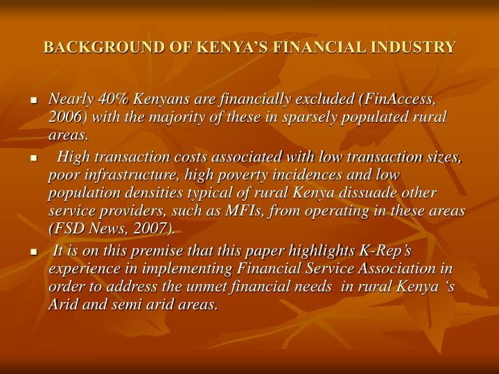 BACKGROUND OF KENYA'S FINANCIAL INDUSTRY