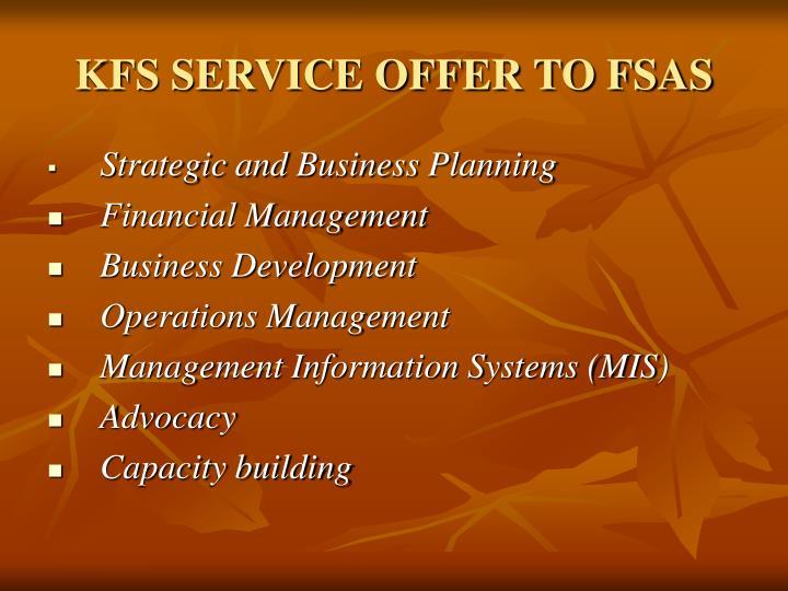 KFS SERVICE OFFER TO FSAS