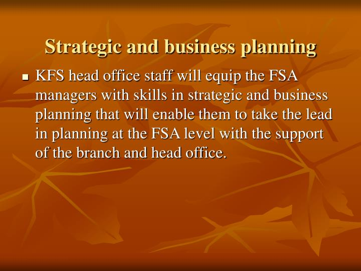 Strategic and business planning