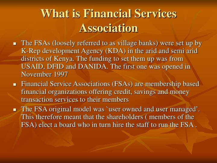 What is Financial Services Association