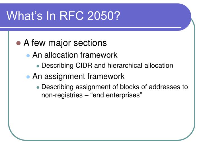 What's In RFC 2050?