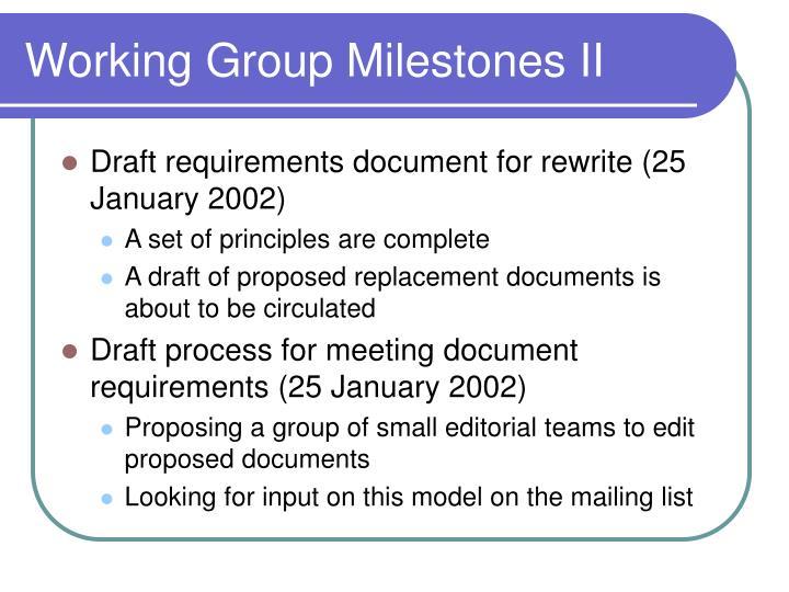 Working Group Milestones II