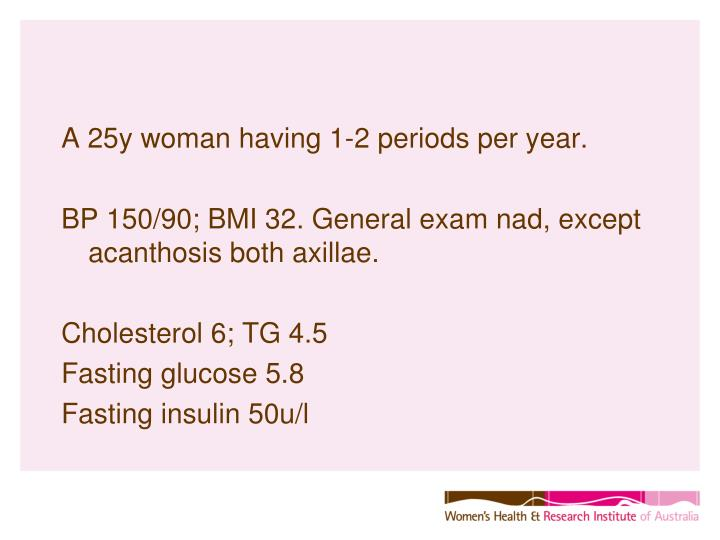 A 25y woman having 1-2 periods per year.