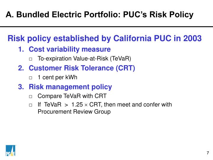 A. Bundled Electric Portfolio: PUC's Risk Policy