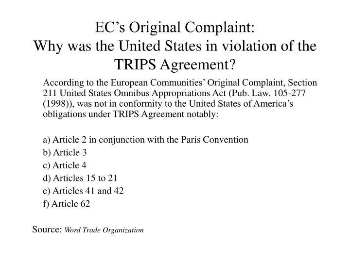EC's Original Complaint: