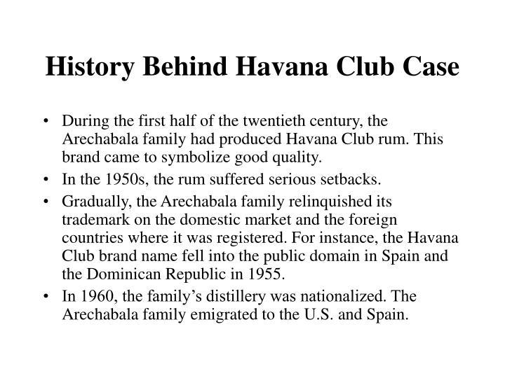 History Behind Havana Club Case