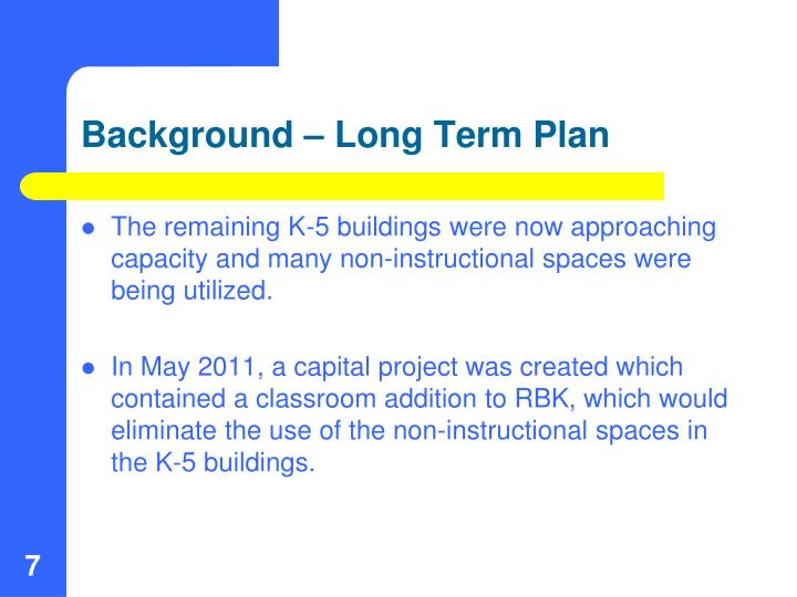 Background – Long Term Plan