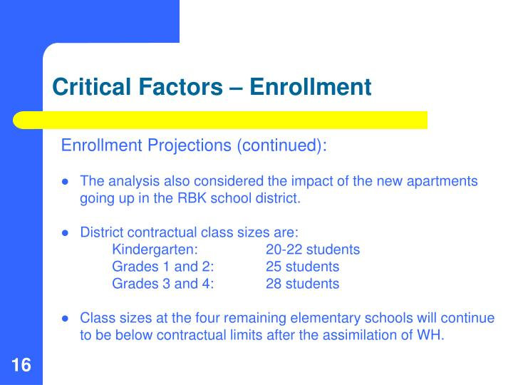 Critical Factors – Enrollment