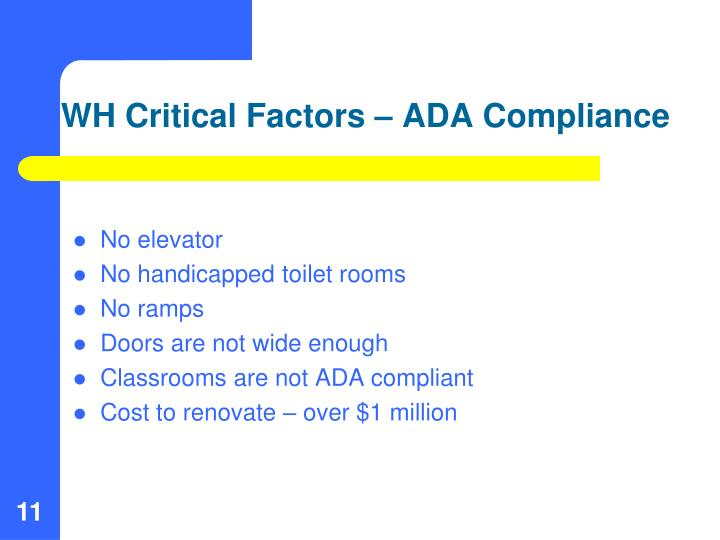 WH Critical Factors – ADA Compliance