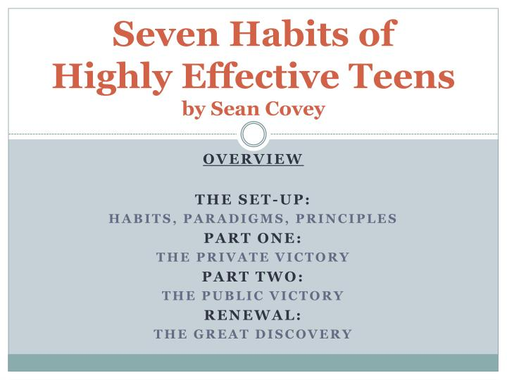 Ppt Seven Habits Of Highly Effective Teens By Sean Covey Powerpoint