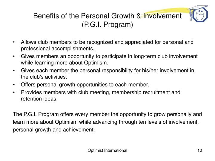 Benefits of the Personal Growth & Involvement