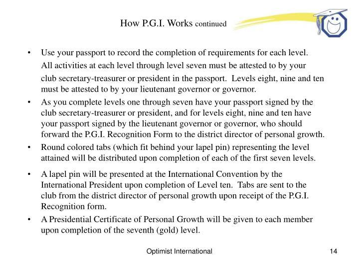 How P.G.I. Works