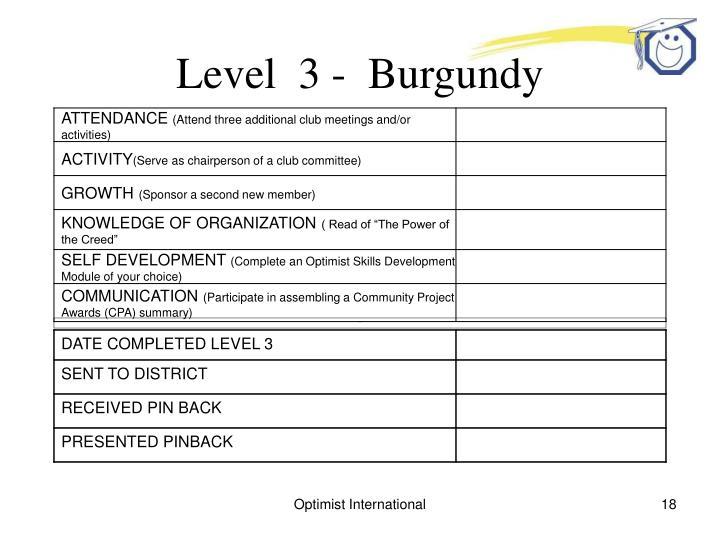 Level  3 -  Burgundy