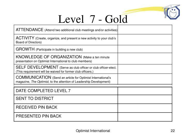 Level  7 - Gold