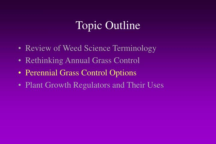 Topic Outline
