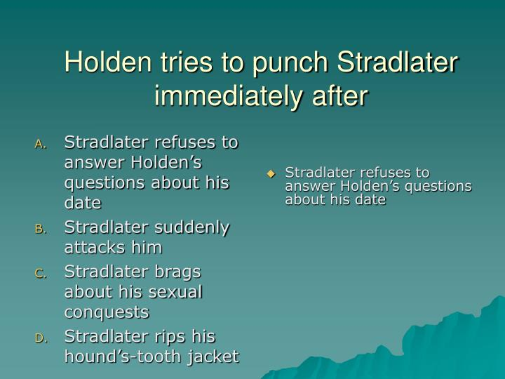 Stradlater refuses to answer Holden's questions about his date