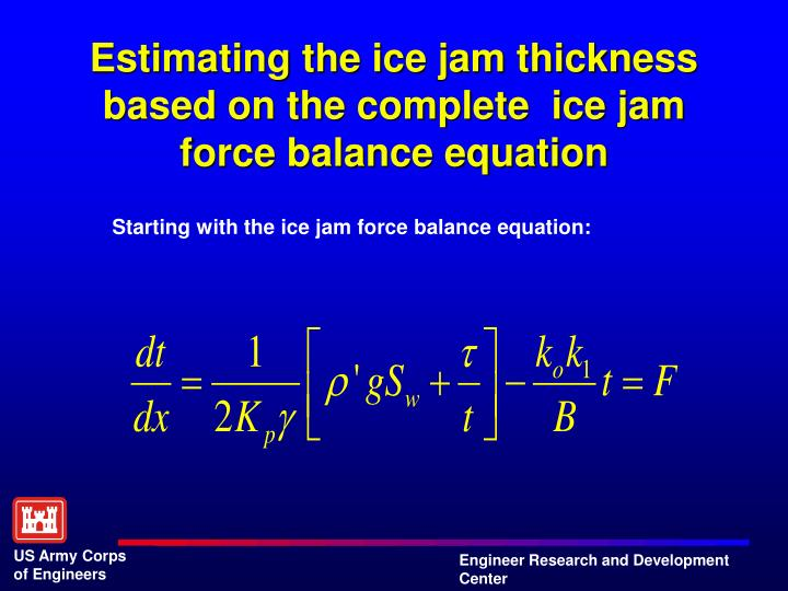 Estimating the ice jam thickness based on the complete  ice jam force balance equation