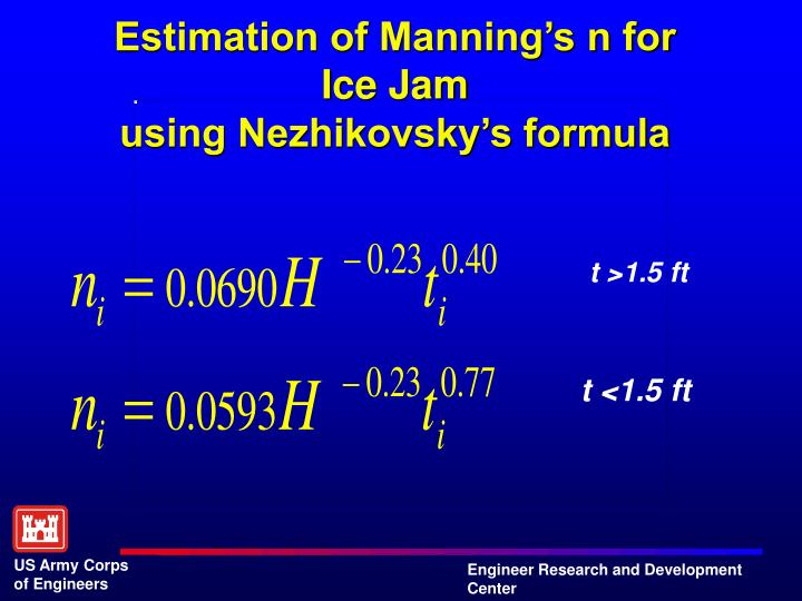 Estimation of Manning's n for Ice Jam