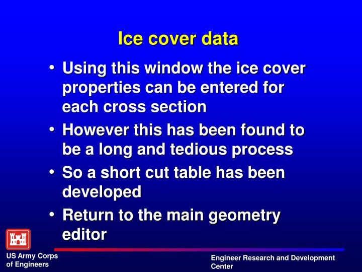 Ice cover data