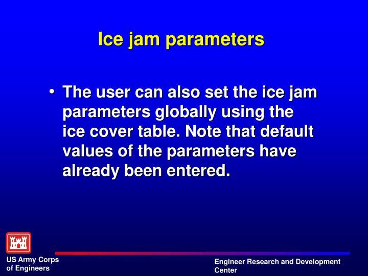 Ice jam parameters