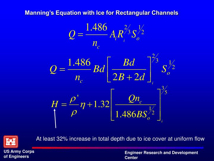Manning's Equation with Ice for Rectangular Channels
