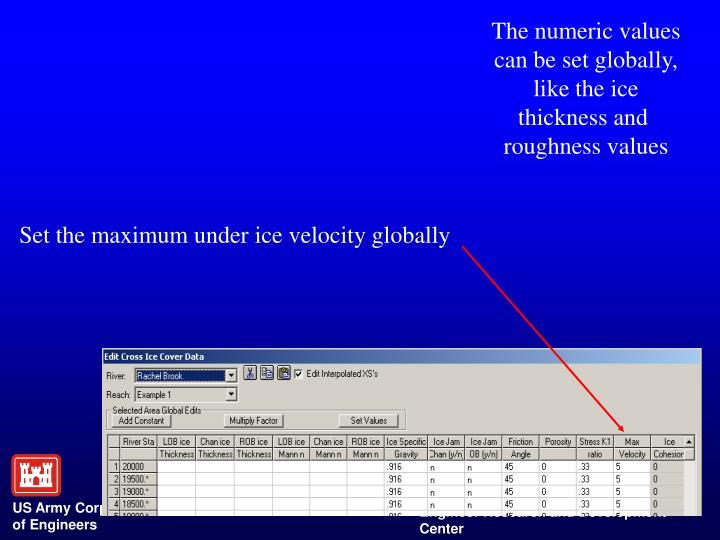 The numeric values