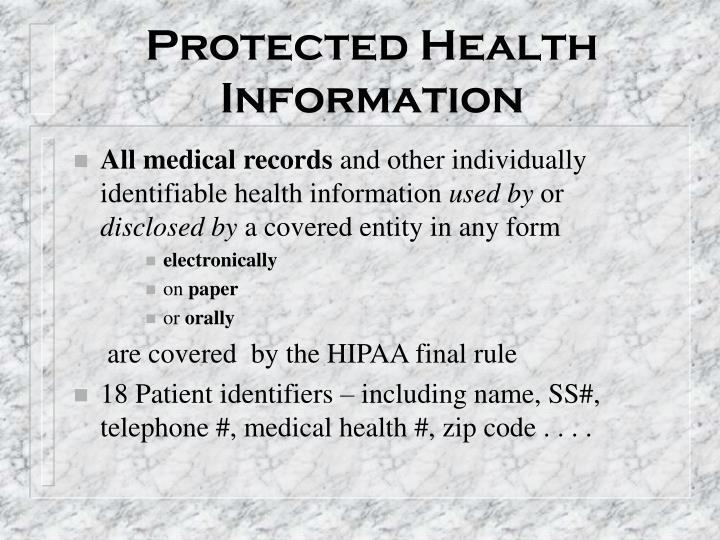 protected health information 18