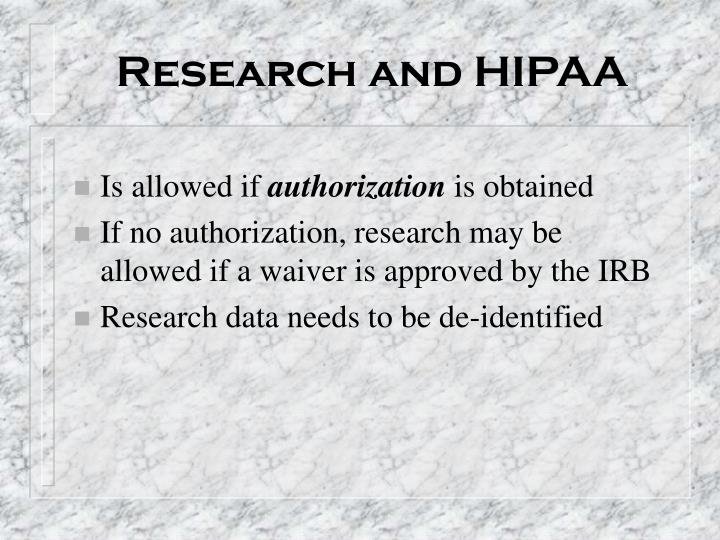 Research and HIPAA