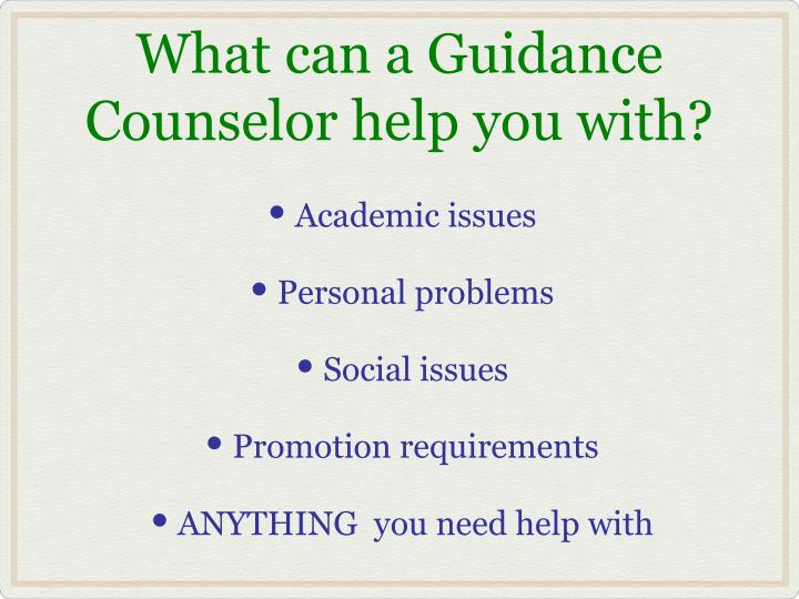 What can a Guidance Counselor help you with?