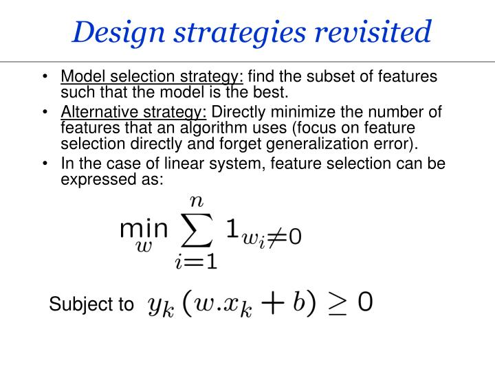 Design strategies revisited
