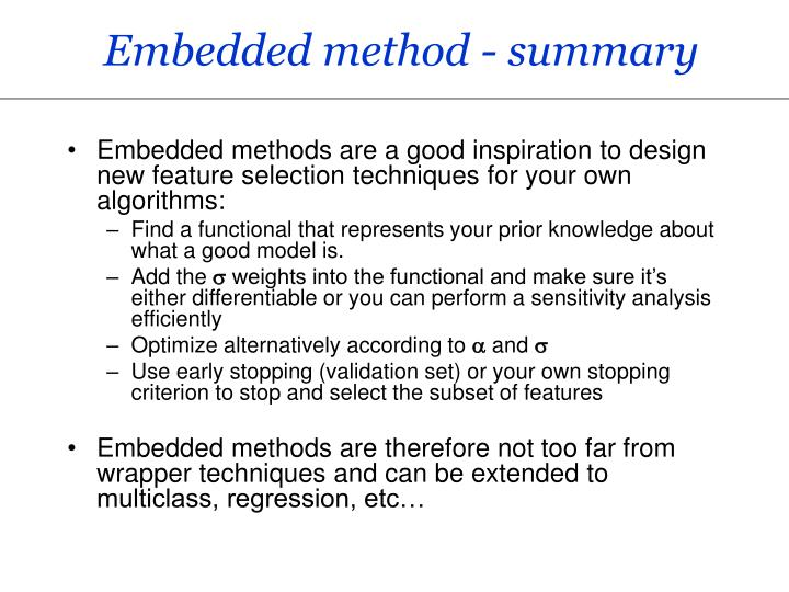 Embedded method - summary