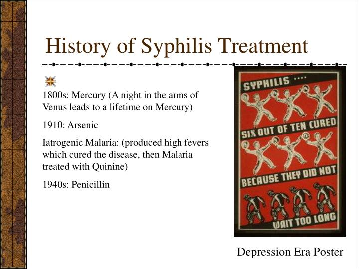syphilis history of Known officially as the tuskegee study of untreated syphilis in the negro male, the study began at a time when there was no known treatment for the disease known officially as the tuskegee study.