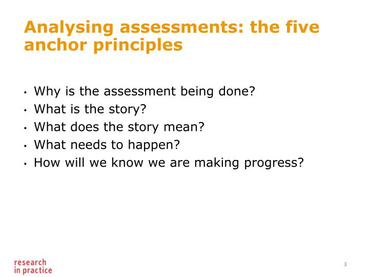 Analysing assessments the five anchor principles