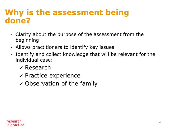 Why is the assessment being done?