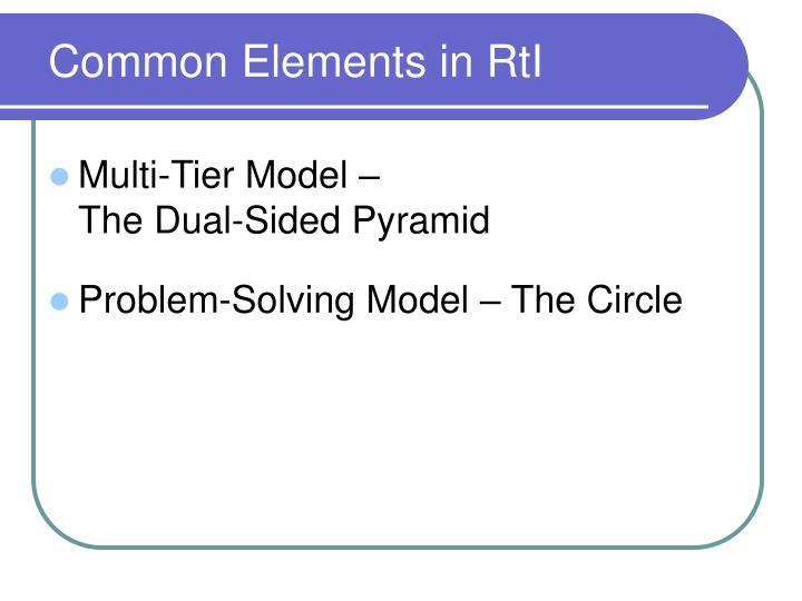 Common Elements in RtI