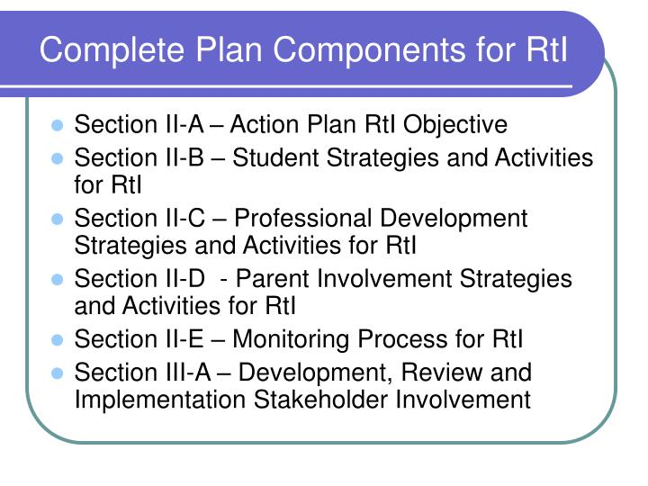 Complete Plan Components for RtI