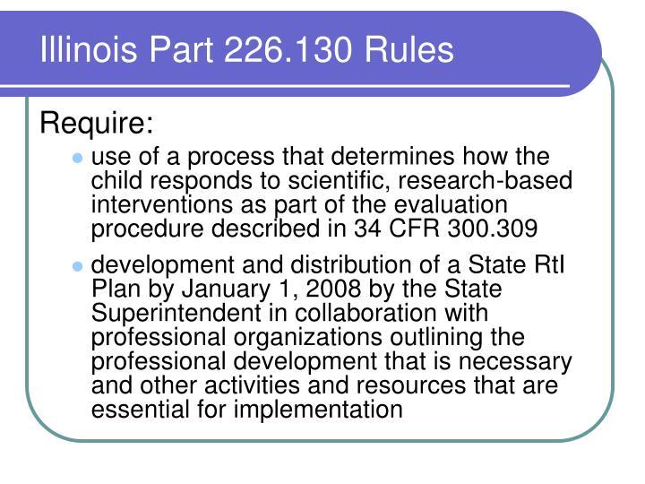 Illinois Part 226.130 Rules