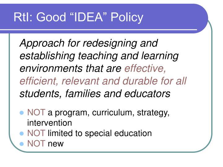 """RtI: Good """"IDEA"""" Policy"""