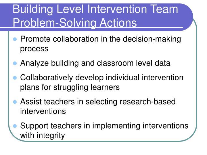 Building Level Intervention Team Problem-Solving Actions
