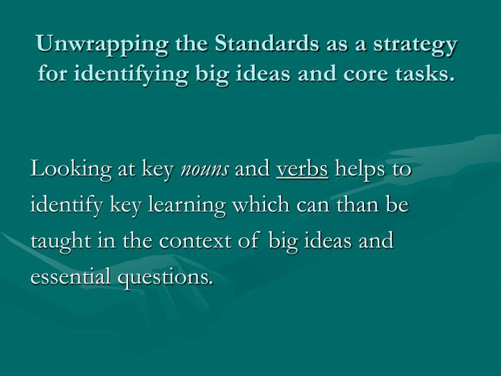 Unwrapping the Standards as a strategy for identifying big ideas and core tasks.