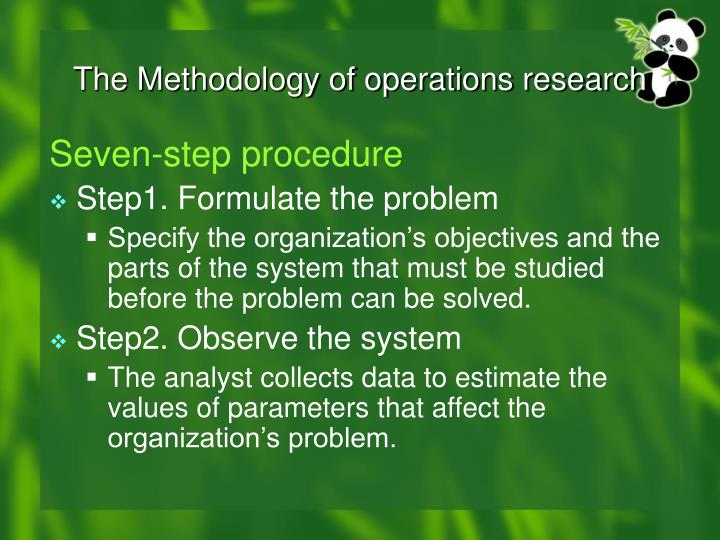 The Methodology of operations research