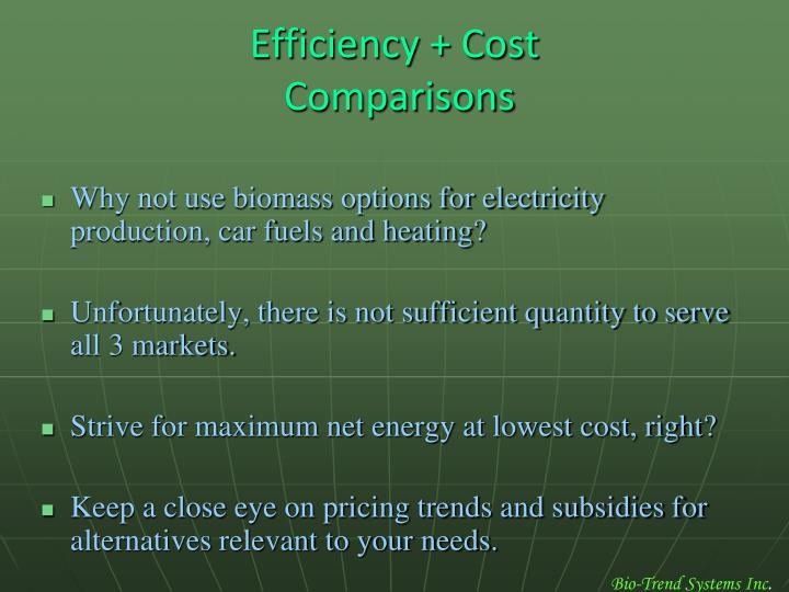 Efficiency + Cost